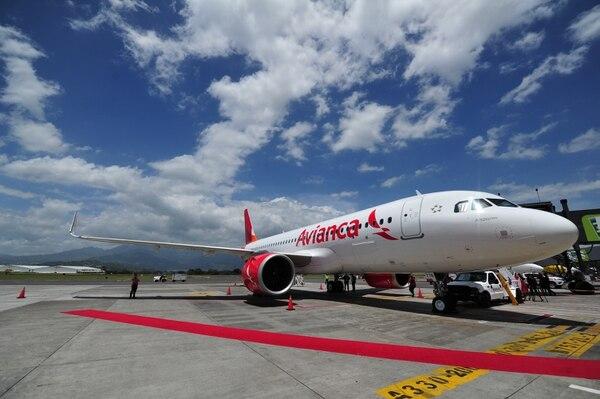 19/07/2018 Avianca incorpora su primer Airbus A320 NEO (New Engine Option) para Costa Rica, ofrece la más avanzada tecnología aeronáutica disponible en el mercado, la aeronave cuenta con 153 silla. Fotografía: Marvin Caravaca.