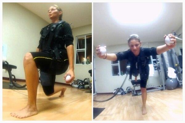 Estos son algunos de los momentos de la sesión de ejercicio con electroestimulación