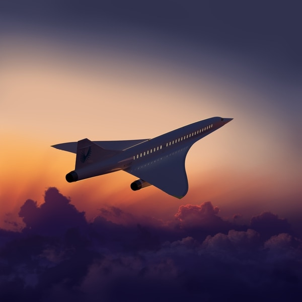 El avión supersónico volaría al doble de la velocidad del sonido y transportaría a 55 pasajeros. (Foto cortesía de Boom Supersonic)
