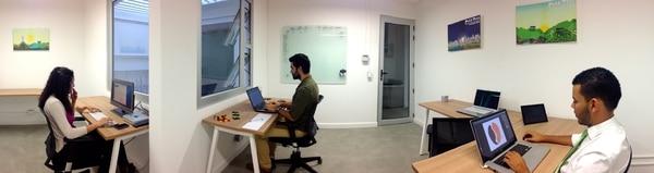 Espacio colaborativo que existe entre los emprendedores dentro de la aceleradora Carao Ventures.