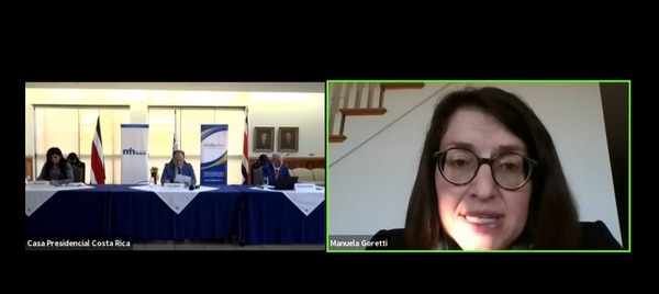 La jefa de misión del FMI para Costa Rica, Manuela Goretti, explica los detalles del plan acordado con el Gobierno. Fotografía: Captura de pantalla conferencia de prensa.