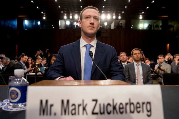 FILE - In this April 10, 2018 file photo, Facebook CEO Mark Zuckerberg arrives to testify before a joint hearing of the Commerce and Judiciary Committees on Capitol Hill in Washington about the use of Facebook data to target American voters in the 2016 election. Facebook said it has uncovered