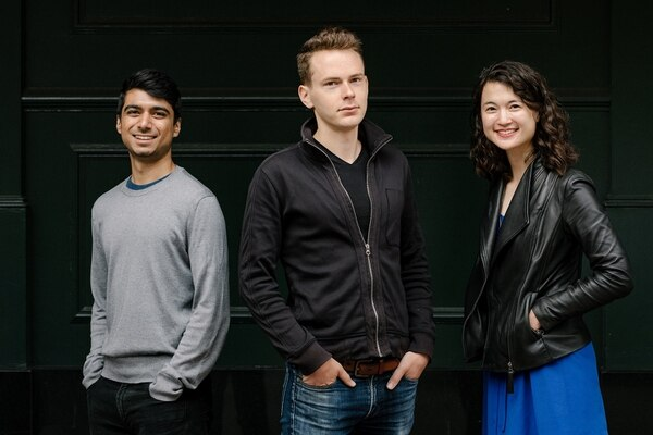 From left, Rishi Narang, operations manager at Pioneer Fund, Daniel Gross, the fund's founder, and Laura Deming, an adviser to the fund and founder of Longevity Fund, in San Francisco, Aug. 7, 2018. The fund is using the Silicon Valley model to bolster talented people who lack opportunity. (Jason Henry/The New York Times)