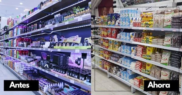 Contraste. Así lucían hace unos meses las tiendas de Mundo Cosmético. Actualmente tienen alimentos y artículos de higiene personal. Foto: Cortesía Grupo Forco.