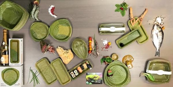 Algunos de los productos que importa BX Food Company son platos y empaques hechos 100% a base de hojas de plantas. La marca se llama Leaf Republic.
