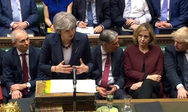 La primera ministra británica, Theresa May, intervino ante la Cámara de los Comunes, este miércoles 14 de marzo del 2018.