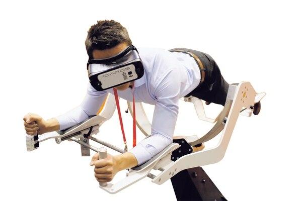 En la reciente feria de AWE, en Santa Clara, California, EE. UU. se mostró entre diversas aplicaciones este simulador de vuelo.