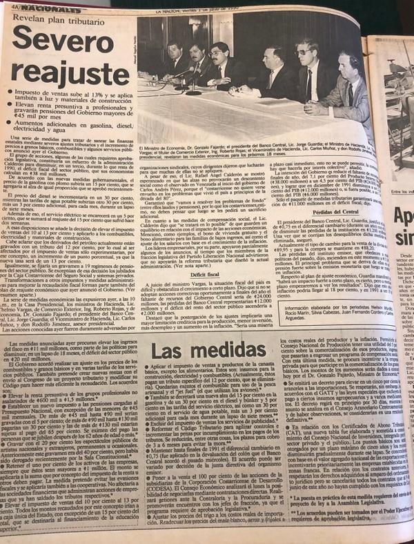 En 1990 el Gobierno tomó una serie de medidas para intentar sanear las finanzas públicas