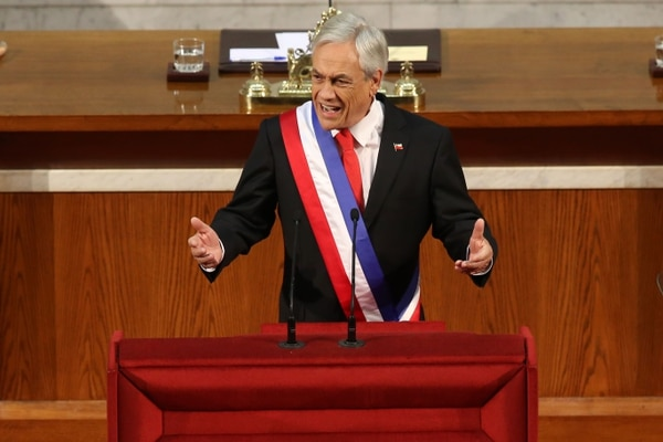 Chile's President Sebastian Pinera gives his first