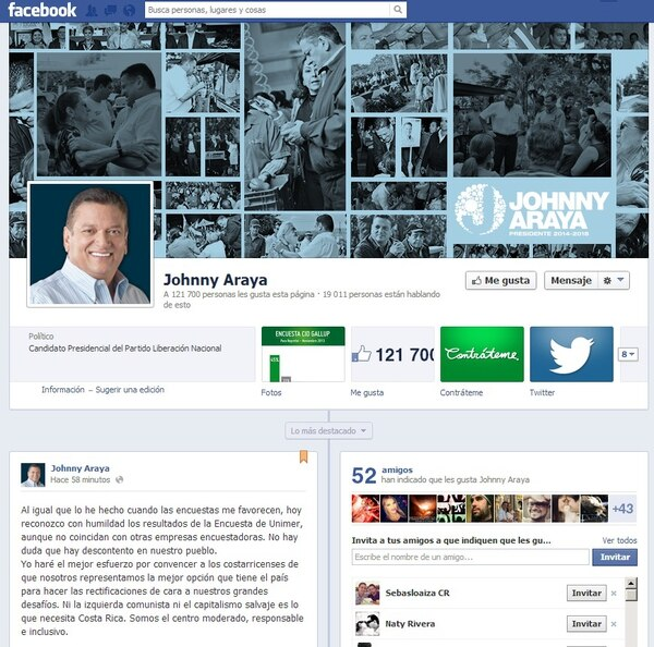 Johnny Araya, candidato del Partido Liberación Nacional Costa Rica (PLN), en su cuenta de Facebook, se refirió a los resultados de una encuesta de Unimer