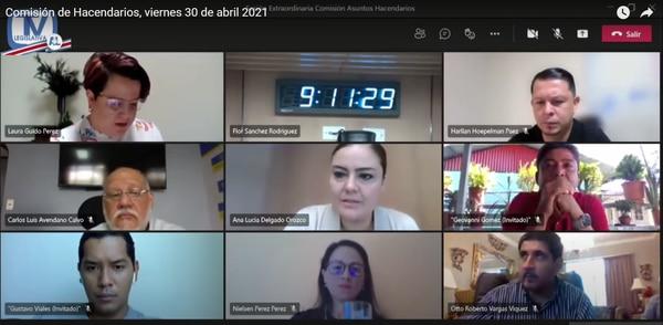 Los legisladores realizaron una sesión virtual este viernes 30 de abril, para dictaminar la autorización de endeudamiento con el BIRF y el BCIE antes de la pausa que implica el cambio de legislatura para las comisiones del Congreso. (Foto: Asamblea Legislativa)