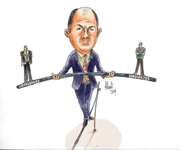 Equilibrista: Así parece que será el papel que deberá jugar el presidente Luis Guillermo Solís para complacer a los movimientos sindicales y al empresariado y no echarse encima a ninguno de los dos.