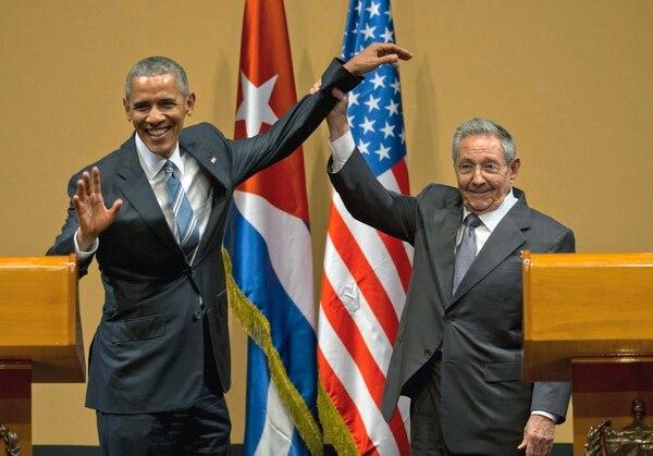 El 21 de marzo del 2016, el expresidente de Estados Unidos, Barack Obama y el presidente de Cuba, Raúl Castro, tuvieron una reunión en el Palacio de la Revolución en La Habana, Cuba. (AP Photo/Ramon Espinosa, File)