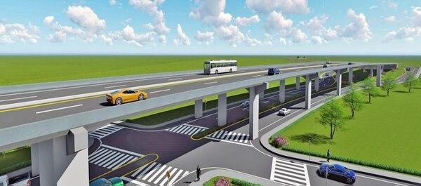 Así se verá la sección de viaducto de la Unidad Funcional V (Imagen: cortesía MOPT).