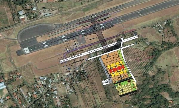 El diseño conceptual planteado para los nuevos hangares es el que muestra la fotografía. Tendrá capacidad para atender simultáneamente seis aviones grandes.