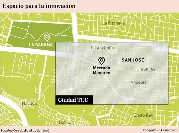 La ciudad tecnológica en San José está pensada para que abarque sus cuatro distritos centrales: Carmen, Merced, Catedral y Hospital.
