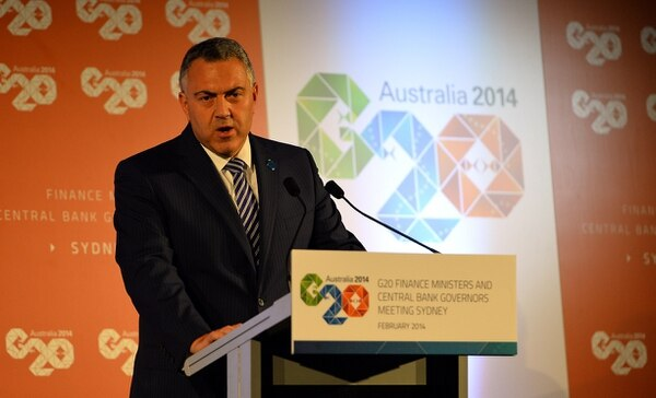 El tesorero de Australia, Joe Hockey, habla durante una conferencia de prensa en la reunión de Ministros de Finanzas del G20 y gobernadores de bancos centrales en Sídney el 23 de febrero.