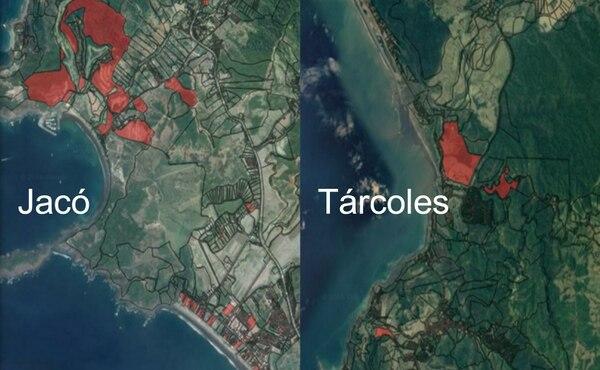 En Garabito, que incluye zonas como Jacó o Tárcoles, Hacienda presume haber encontrado 528 casas de lujo que deberían pagar el Impuesto Solidario. (En rojo algunas de las zonas donde se encontraron posibles inmuebles ocultos)