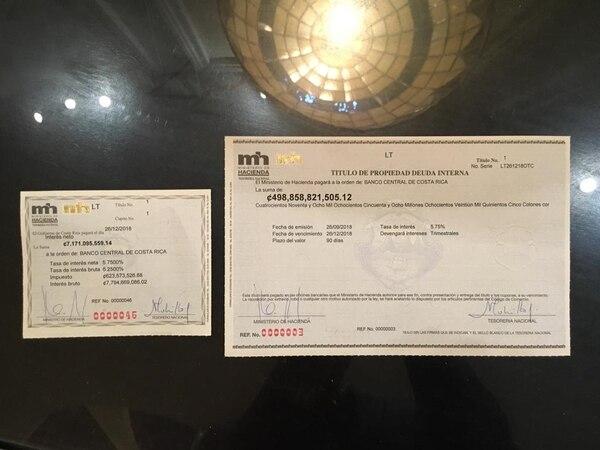 A las 5:12 pm del miércoles 26 de setiembre de 2018, la ministra de Hacienda, Rocío Aguilar, y la tesorera nacional, Martha Cubillo, firmaron las letras del tesoro. Minutos después el BCCR las liquidó.