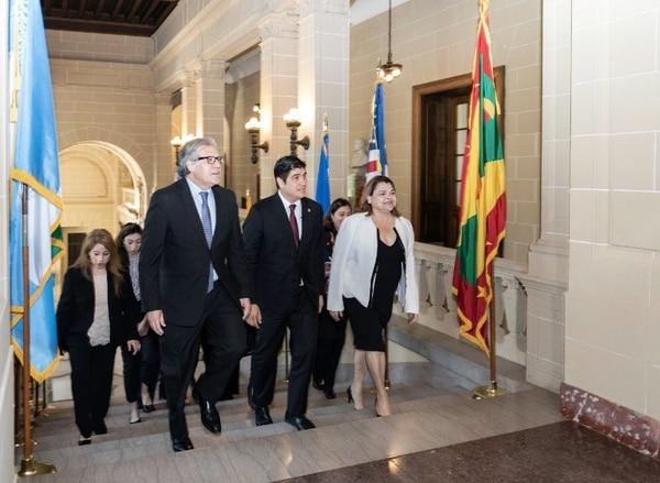Carlos Alvarado está en su primera gira fuera del país desde que asumió el poder. Fotografía: Cortesía Casa Presidencial.