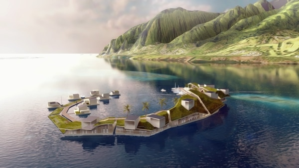 16/11/2017. USAR SOLO EN EL FINANCIERO. A rendering of the Floating Island Project in French Polynesia. Blue Frontiers will build and operate the islands, with the goal of building about a dozen by 2020, including homes, hotels, offices and restaurants, at a cost of about $60 million. (Blue Frontiers via The New York Times) -- NO SALES; FOR EDITORIAL USE ONLY WITH DEAL-FLOATING-CITIES BY DAVID GELLES. ALL OTHER USE PROHIBITED. --