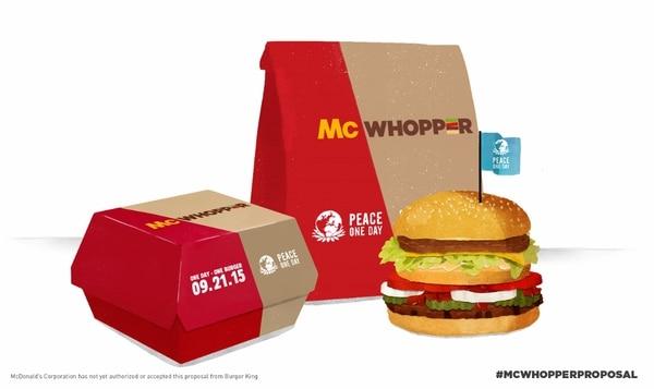 Burger King propone abrir en el Día Internacional de la Paz, el 21 de setiembre, un restaurante que ofrezca la