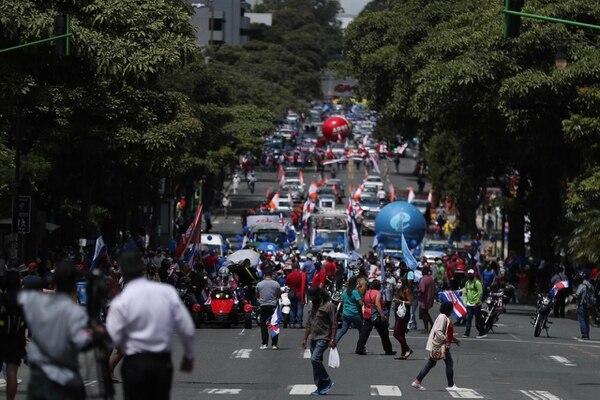 Grupos sindicales afirman que marchan contra negociación con FMI, suspensión del pago de anualidades y contra el proyecto de ley de Empleo Público. Foto: José Cordero.