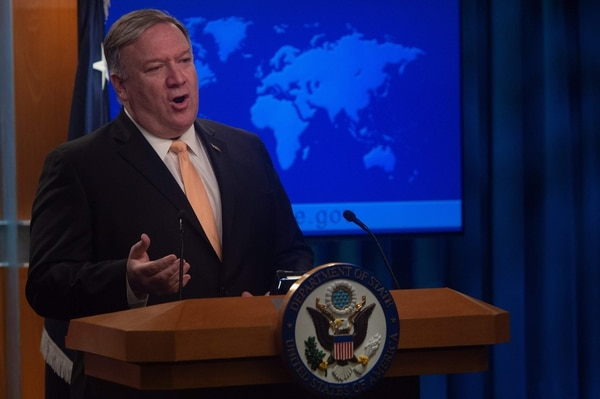 US Secretary of State Mike Pompeo speaks during a press conference at the US Department of State in Washington, DC on April 22, 2019. - The United States announced on Monday it will no longer grant sanctions exemptions to Iran's oil customers, potentially punishing allies such as India as it tries to squeeze Tehran's top export. (Photo by ANDREW CABALLERO-REYNOLDS / AFP)