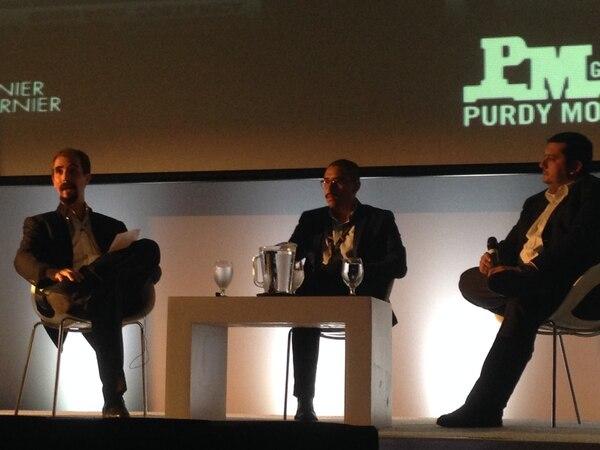 Gilles Maury, de Deloitte; José Cortés, de Purdy Motor; y Luis Víquez, de Grupo Avon, en el panel final de transformación digital en la Expo IT Comm.