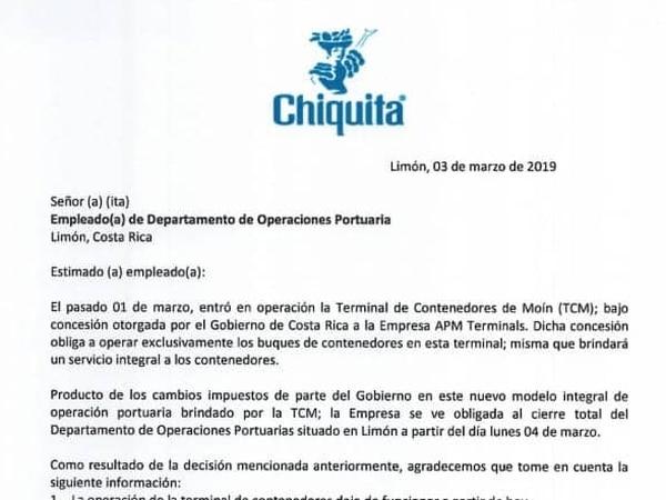Esta es la carta atribuida a las autoridades de Chiquita Brands Costa Rica, en la que se anuncia el cierre del departamento de Operaciones portuarias.