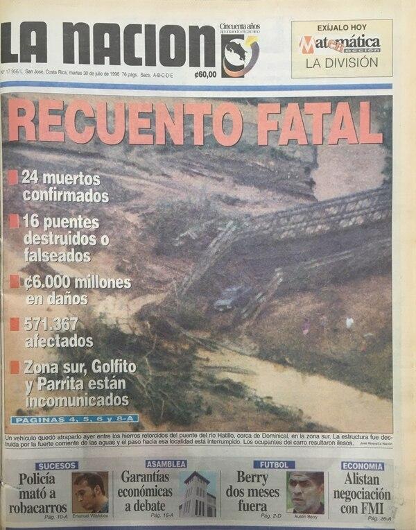 Portada del periódico La Nación del 30 de julio de 1996.
