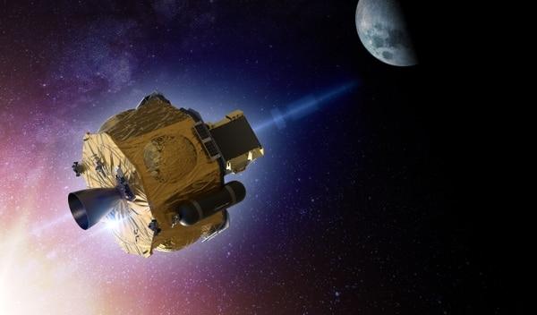 Esta imagen cortesía de Rocket lab muestra un render de un artista para la variante interplanetaria de la nave espacial Photon, desarrollada por Rocket Lab, la imagen muestra la luna como un destino, ya que fueron creadas en preparación para la misión CAPSTONE de la NASA. a la órbita lunar en 2021, pero la nave sería muy similar para una misión de Venus. Foto: Handout / ROCKET LAB / AFP