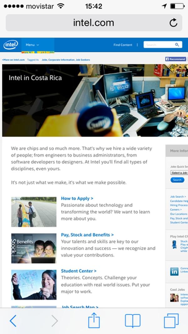 Intel suele utilizar la página web para reclutar a su nuevo personal.