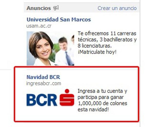 El anuncio falso del BCR promociona una supuesta oferta desde Facebook.