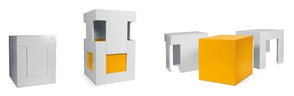Con madera en color blanco y amarillo estas tres piezas conforman el vistoso taburete