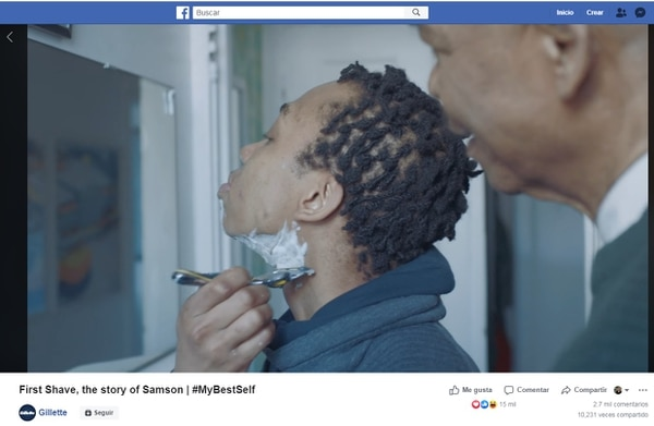 El 23 de mayo, Gillette publicó en su página de Facebook un comercial sobre la primera afeitada de un hombre trans, con ayuda de su papá. Captura de pantalla de la cuenta de Gillette en Facebook