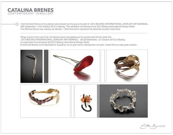 Seis trabajos de Catalina Brenes formarán parte de la exhibición internacional Bienal Internacional de Joyería Beijing 2013