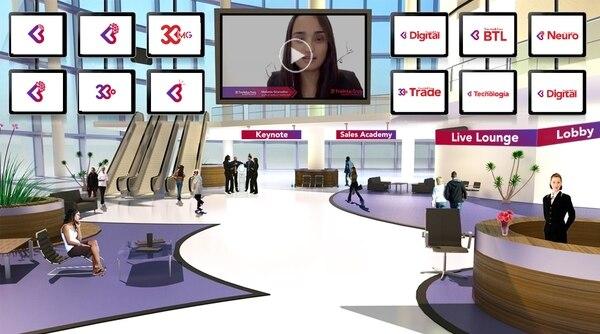 Las personas que asistan a un evento virtual podrán encontarse de entrada en un lobby donde se le brinda información sobre actividades que incluye la actividad. (Foto cortesía 33 Marketing para EF)