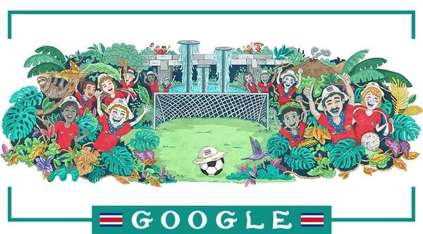 La interacción con sus usuarios está dando resultados positivos a Google. Un ejemplo de las acciones estratégicas fue esta ilustración que acompañó el logo del buscador durante las fechas de partido de Costa Rica en el Mundial Rusia 2018. Foto: Google.