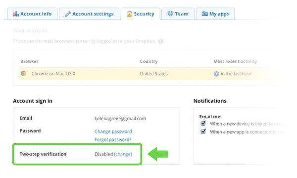 El servicio incluye la opción para que el usuario utilice el doble paso de verificación.