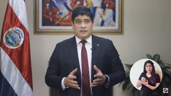 """4/10/2020. El presidente Carlos Alvarado afirmó que su gobierno """"redoblará esfuerzos"""" para disminuir el gasto público. Foto: Captura de pantalla del canal de Youtube de Casa Presidencial"""